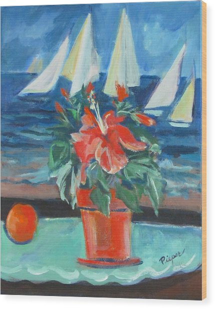 Hibiscus With An Orange And Sails For Breakfast Wood Print
