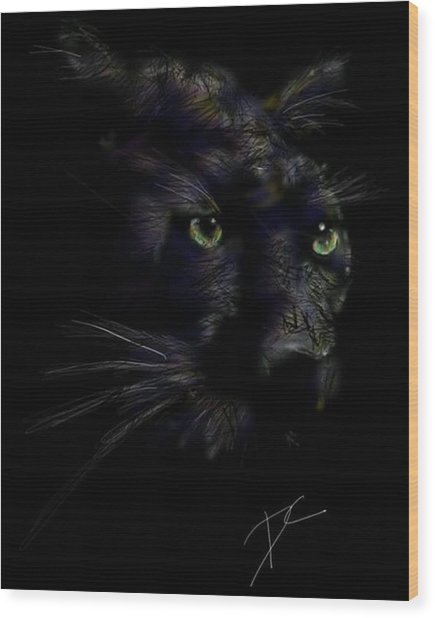 Wood Print featuring the digital art Hidden Cat by Darren Cannell