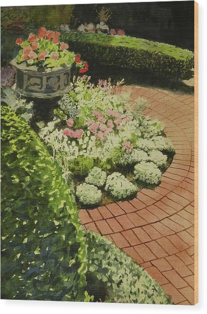 Hidden Garden In Quebec Wood Print by Walt Maes