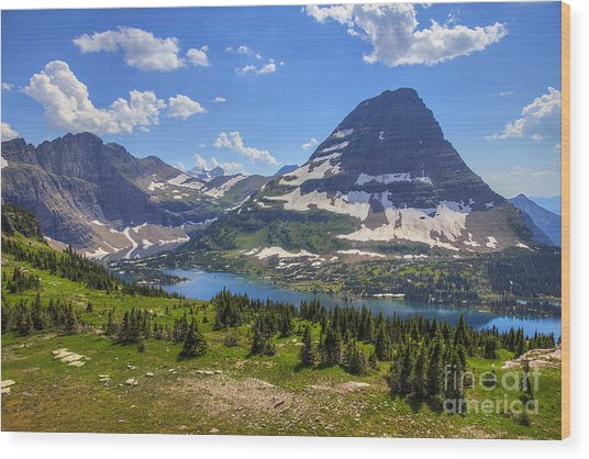 Hidden Lake And Bearhat Mountain Wood Print