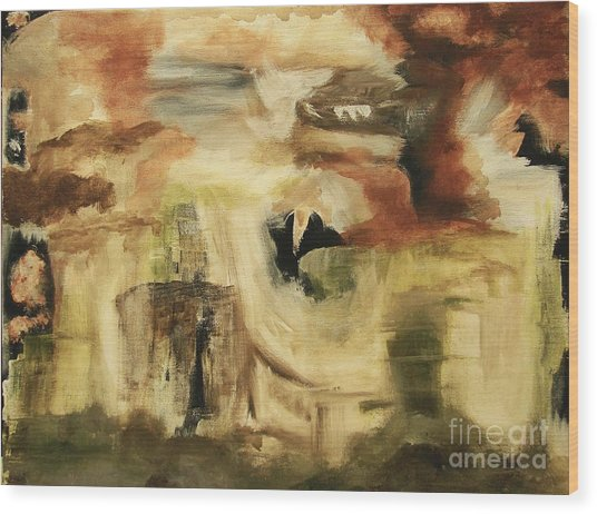 Hidden Places - Contemporary Modern Abstract Art Painting  Wood Print by Itaya Lightbourne