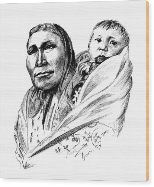 Hiditcha Woman With Child Wood Print