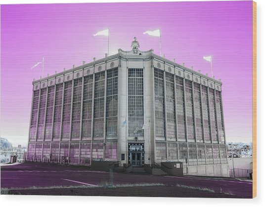 Higgins Armory In Infrared Wood Print