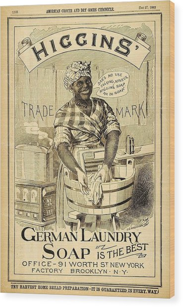 Wood Print featuring the digital art Higgins German Laundry Soap by ReInVintaged