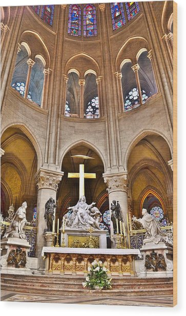 High Alter Notre Dame Cathedral Paris France Wood Print