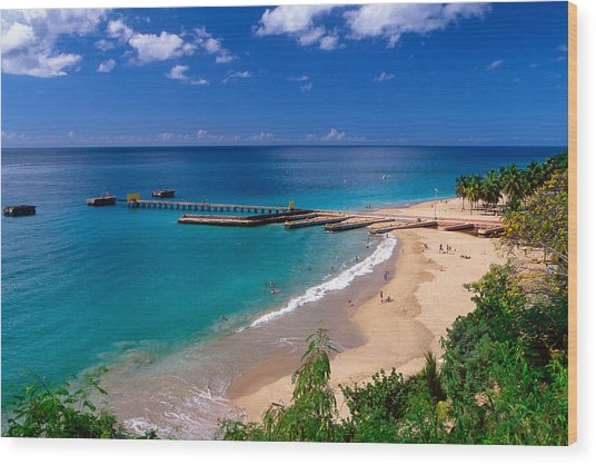 High Angle View Of A Pier On Crashboat Beach Puerto Rico. Wood Print by George Oze