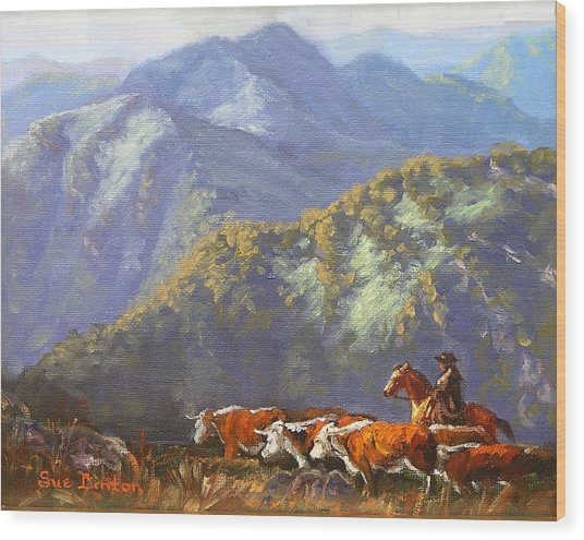 High Country Muster Wood Print by Sue Linton
