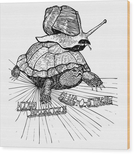High Definition Slug O Stache Wood Print by Karl Addison