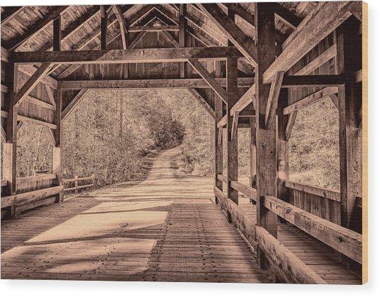 High Falls Covered Bridge Wood Print