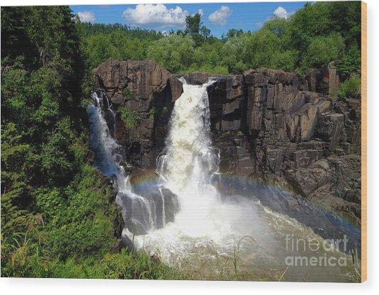 High Falls On Pigeon River Wood Print
