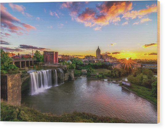 High Falls Rochester Ny Wood Print