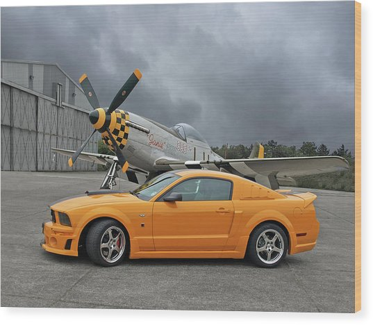 High Flyers - Mustang And P51 Wood Print