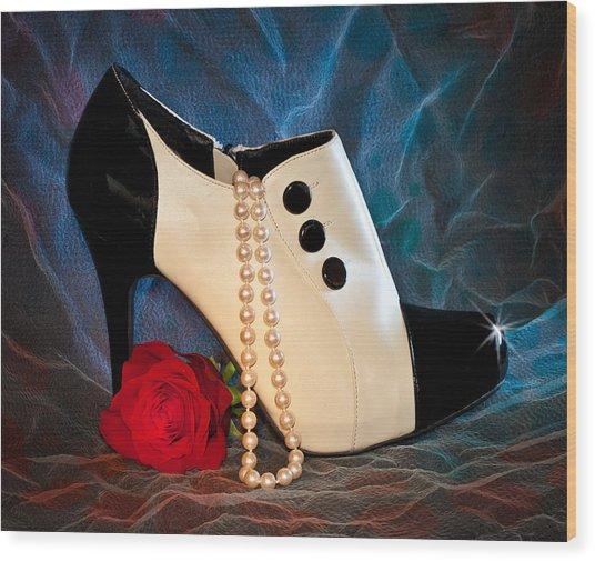 High Heel Spat Bootie Shoe Wood Print
