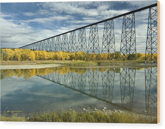 High Level Bridge In Lethbridge Wood Print