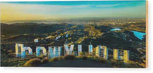 High On Hollywood Wood Print