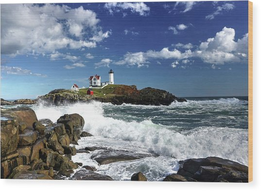 High Surf At Nubble Light Wood Print