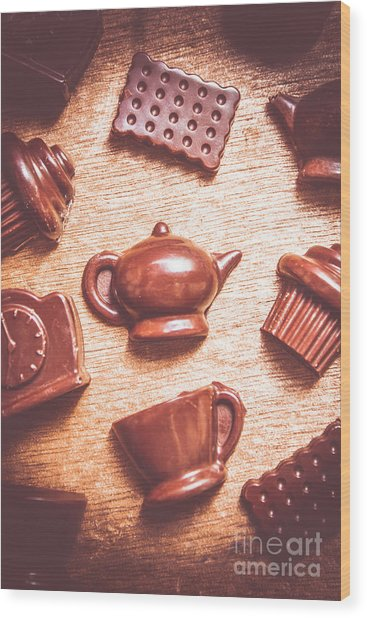 High Tea Snacks Wood Print