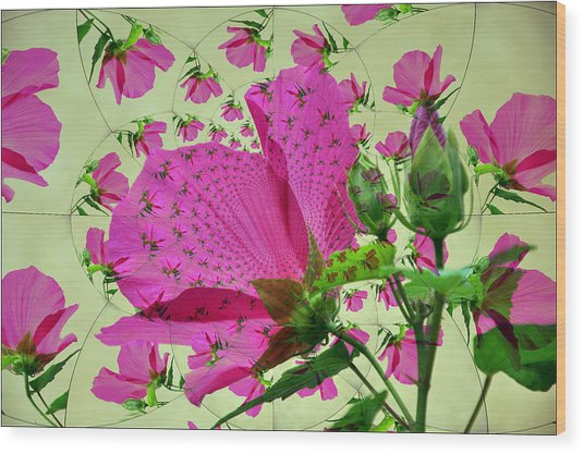 High Tea With Pink Hibiscus Wood Print