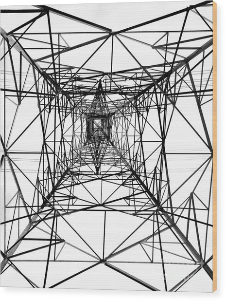 High Voltage Power Mast Wood Print