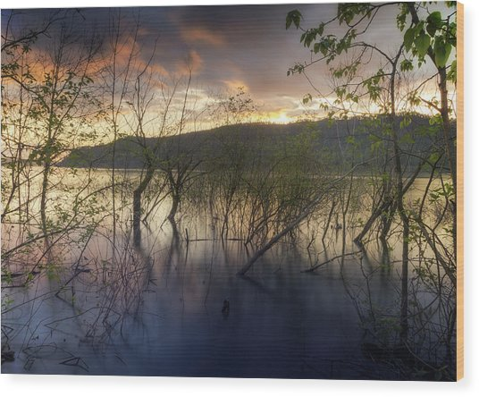 High Water Sunset Wood Print