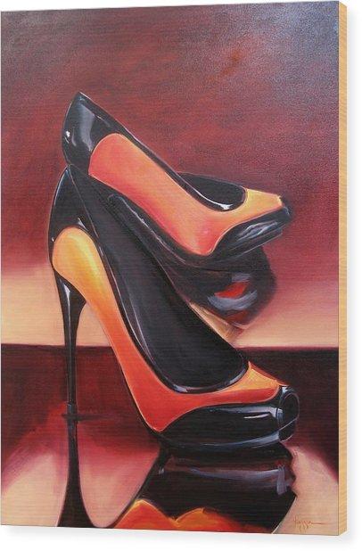 Highered Heels Wood Print by Yvonne Dagger