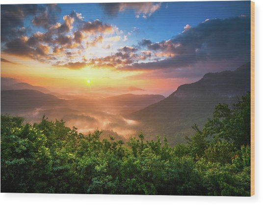 Highlands Sunrise - Whitesides Mountain In Highlands Nc Wood Print
