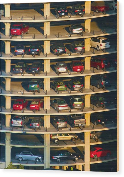 Highrise Carpark Wood Print