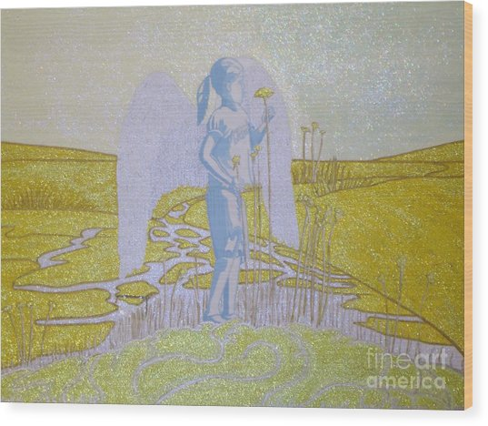 Highway Angel Landscape Bright Wood Print by Daniel Henning