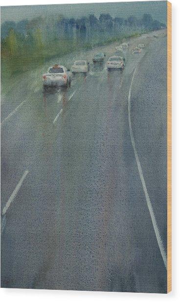 Highway On The Rain02 Wood Print