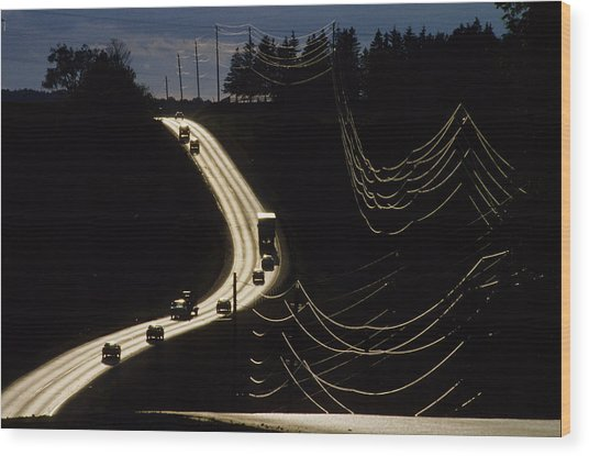 Highway Sunset Wood Print