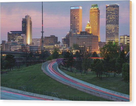 Highway View Of The Tulsa Skyline At Dusk Wood Print