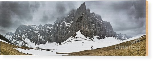Hiking In The Alps Wood Print