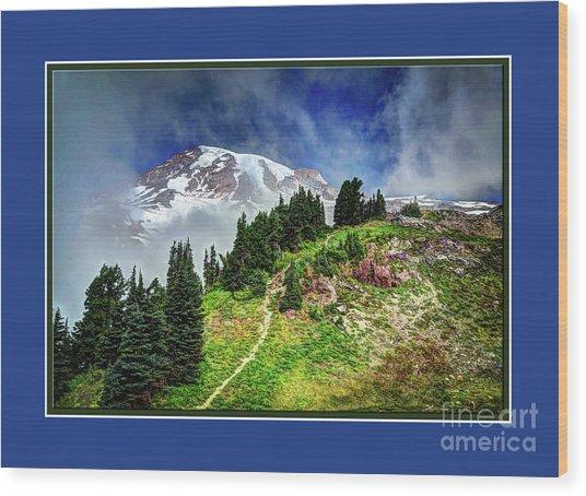 Hiking Rainier Wood Print