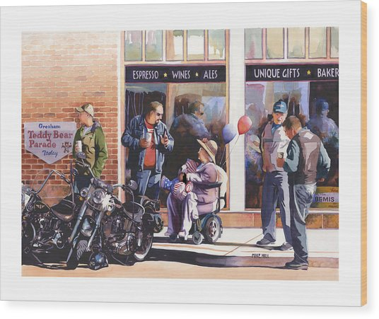 Hilda Hogs And Harleys Wood Print