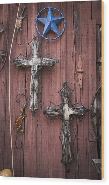 Hill Country Crosses Wood Print