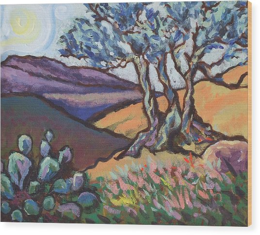 Hill Country Dusk Wood Print