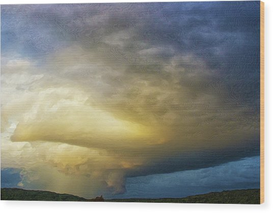 Hill Country Storm Wood Print