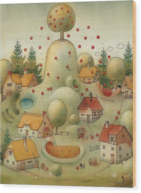 Hill Wood Print by Kestutis Kasparavicius