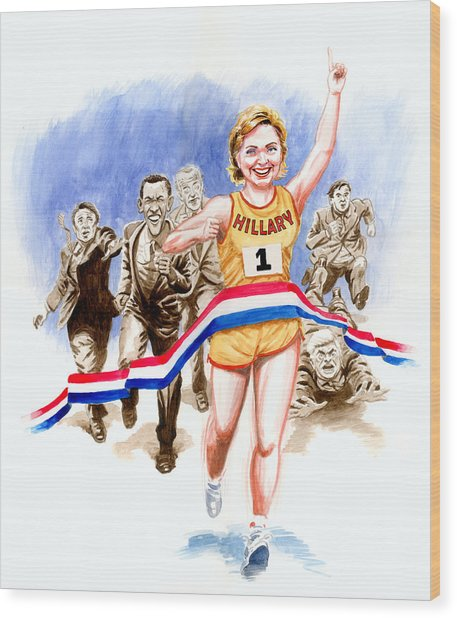 Hillary And The Race Wood Print