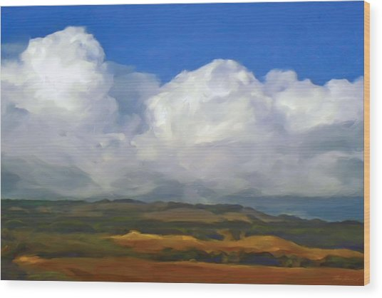 Hills And Clouds Wood Print by Thomas  Hansen