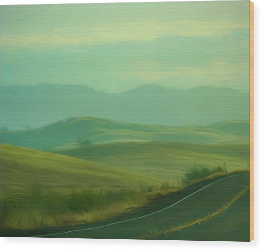 Hills In The Early Morning Light Digital Impressionist Art Wood Print