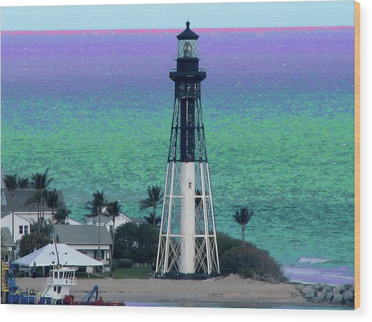 Hillsboro Lighthouse Purple Horizon Wood Print