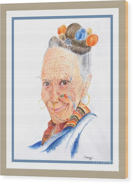 Himalayan Smile Lines -- Portrait Of Old Asian Woman Wood Print