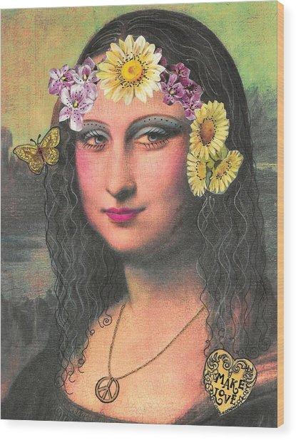 Hippie Gioconda Wood Print