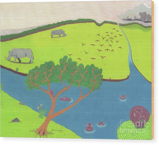 Hippo Awareness Wood Print