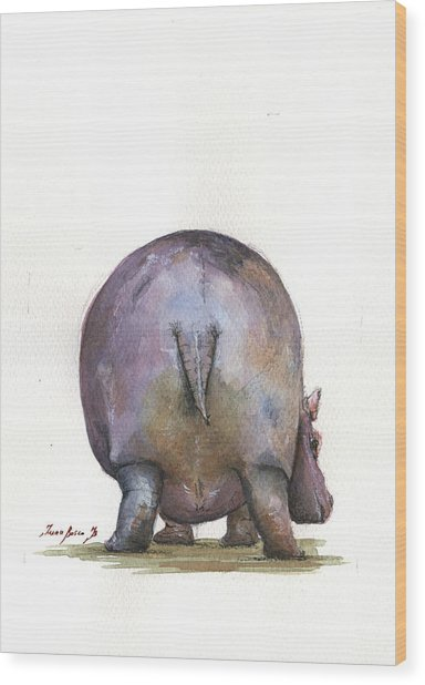 Hippo Back Wood Print