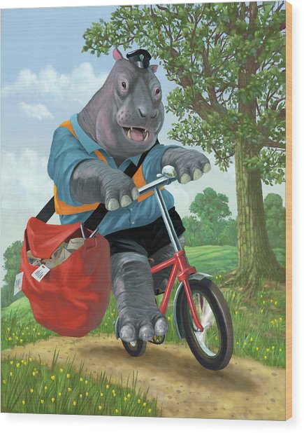 Hippo Post Man On Cycle Wood Print