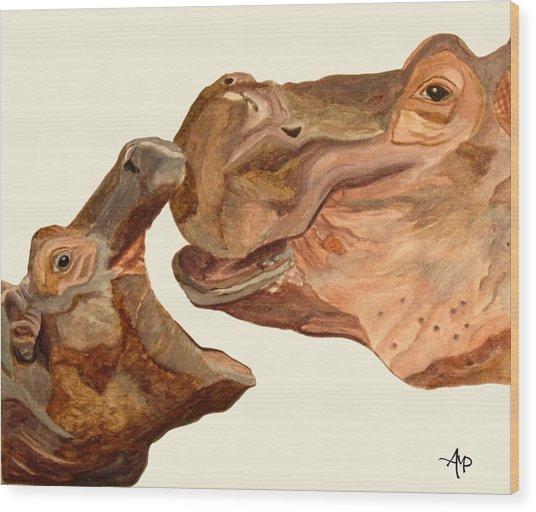 Hippos Wood Print