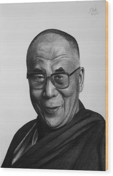 His Holiness The Dalai Lama Wood Print