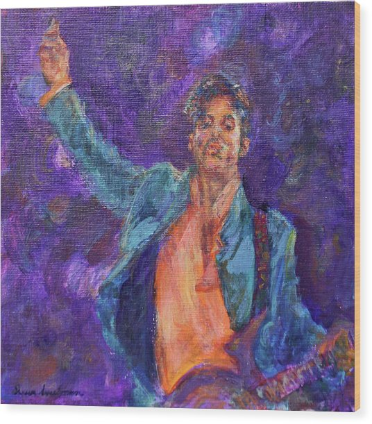 His Purpleness - Prince Tribute Painting - Original Art Wood Print